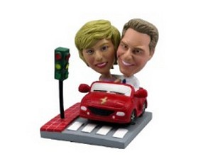Driven in a car couple custom bobblehead doll