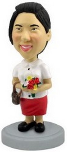 Nice women with flowers personalized bobblehead doll