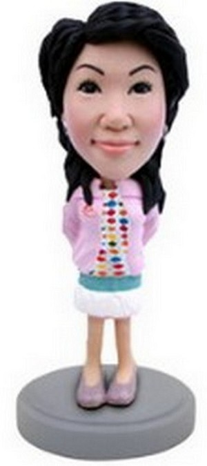 Girl in short dress with a jacket custom bobblehead doll