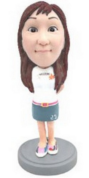Custom Bobble Head Girl In Shirt And Dress | Gifts For Women