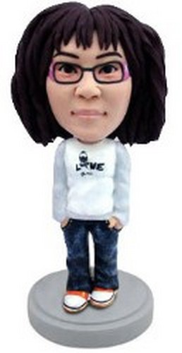 Custom Bobble Head Girl In Shirt (Love) | Gifts For Women
