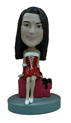 Custom Bobble Head Holiday Outfit With Present | Gifts For Women