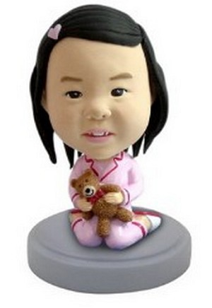 Baby Girl  (with teddy bear) custom bobblehead doll