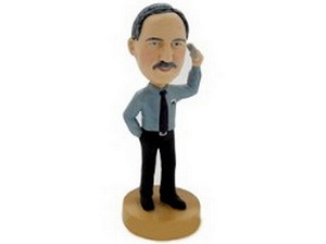 Supervisor Man on phone personalized bobblehead doll