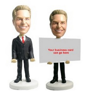 Business card holder - Male 2 personalized bobblehead doll
