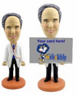 Business Card Holder - Male Doctor Personalized Bobble Head | Gift Ideas For Men