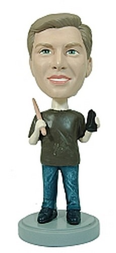 Man with Drum Stick and Bell custom bobblehead doll