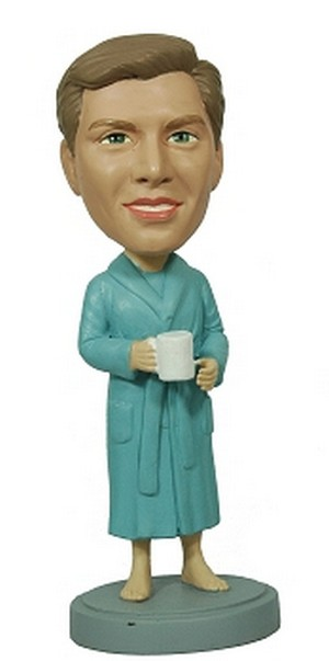 Male In Robe With Coffee Custom Bobble Head | Gift Ideas For Men