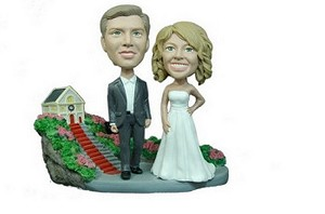 Man and Women with Church custom bobblehead doll 2