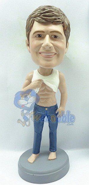 Sexy Male lifting shirt to see some muscle custom bobblehead (bobbing doll)