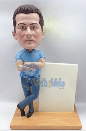 Business man custom bobblehead doll with sign Premium