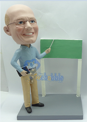 Premium Teacher with book and board (male) custom bobblehead doll
