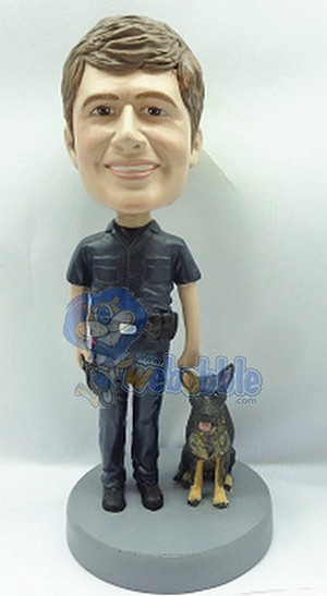 Officer And K9 Custom Bobble Head Premium | Gift Ideas For Men