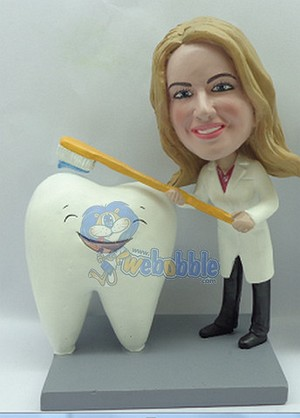 Custom Bobble Head Dentist Or Hygenist Brushing A Big Happy Tooth Premium | Gifts For Women