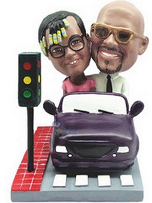couple in Car custom bobblehead doll  2